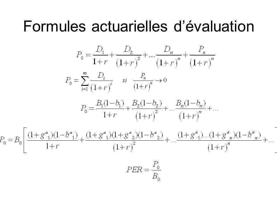 Formules actuarielles dévaluation