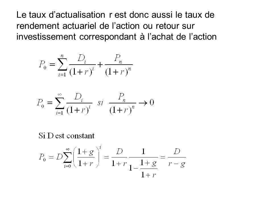 Le taux dactualisation r est donc aussi le taux de rendement actuariel de laction ou retour sur investissement correspondant à lachat de laction