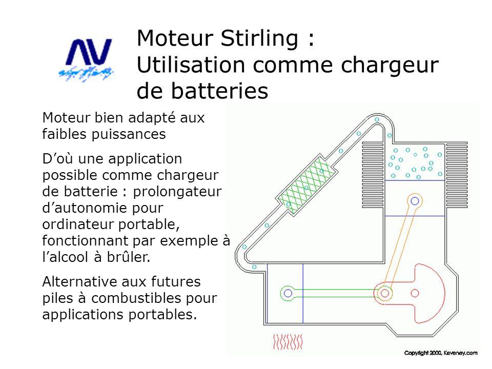 Moteur Stirling : Utilisation comme chargeur de batteries Moteur bien adapté aux faibles puissances Doù une application possible comme chargeur de bat