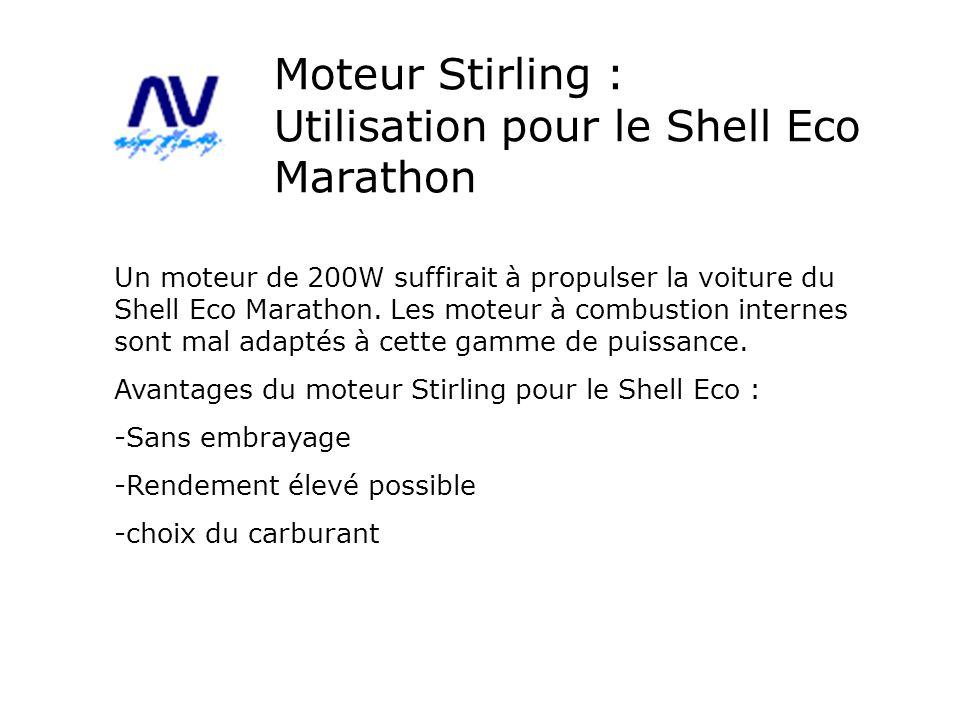 Moteur Stirling : Utilisation pour le Shell Eco Marathon Un moteur de 200W suffirait à propulser la voiture du Shell Eco Marathon. Les moteur à combus