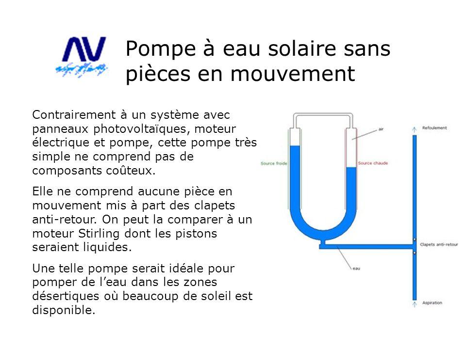 Pompe à eau solaire sans pièces en mouvement Contrairement à un système avec panneaux photovoltaïques, moteur électrique et pompe, cette pompe très si