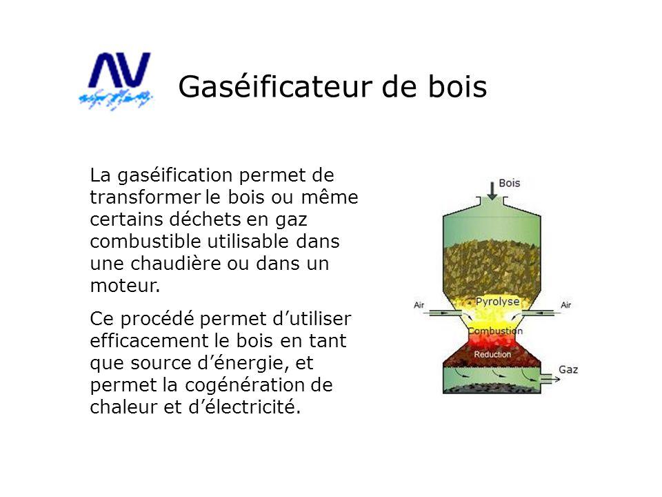 Gaséificateur de bois La gaséification permet de transformer le bois ou même certains déchets en gaz combustible utilisable dans une chaudière ou dans