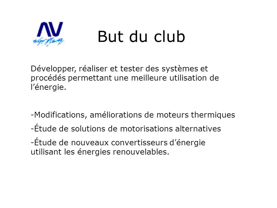 But du club Développer, réaliser et tester des systèmes et procédés permettant une meilleure utilisation de lénergie. -Modifications, améliorations de