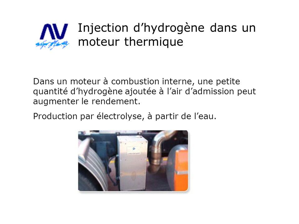Dans un moteur à combustion interne, une petite quantité dhydrogène ajoutée à lair dadmission peut augmenter le rendement. Production par électrolyse,