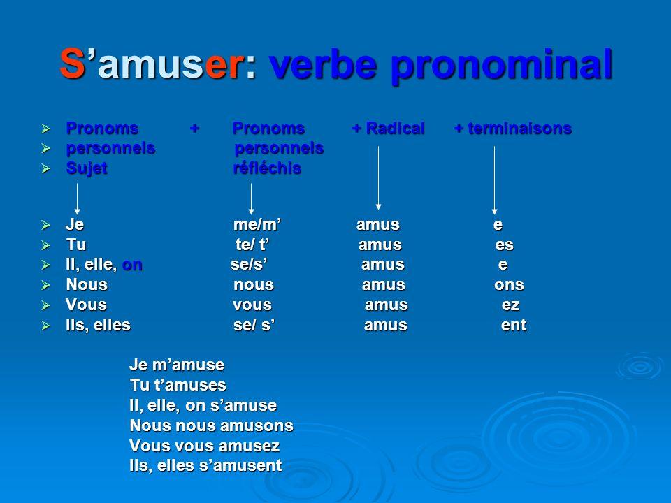1- VERBES DU 1er GROUPE: -ER (+-90% ) Chanter : Chanter chant + terminaisons: -e/-es/ -e/ -ons/ -ez/ -ent Je chante ( chant+e) Tu chantes ( (chant+es)
