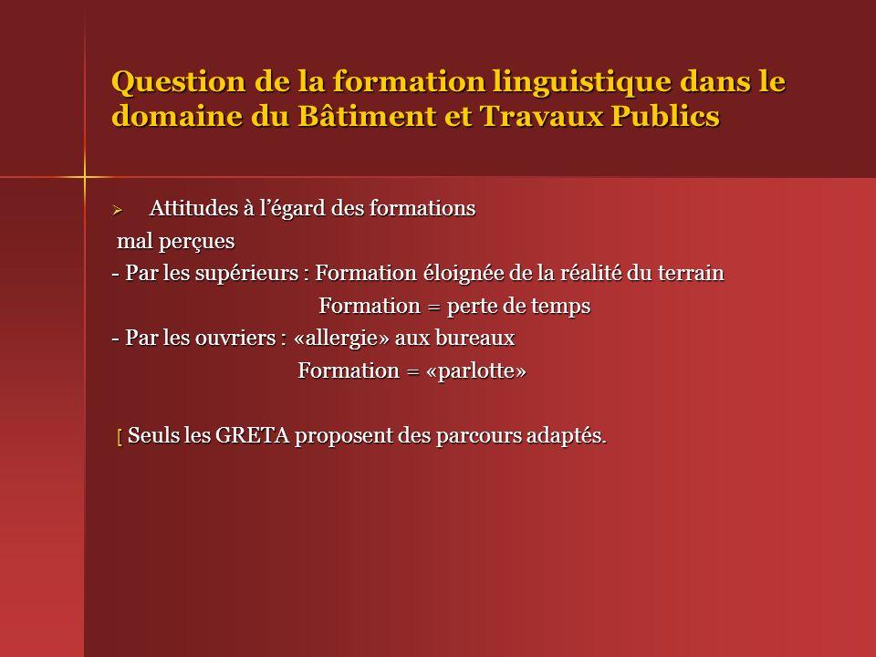 Question de la formation linguistique dans le domaine du Bâtiment et Travaux Publics Attitudes à légard des formations Attitudes à légard des formatio