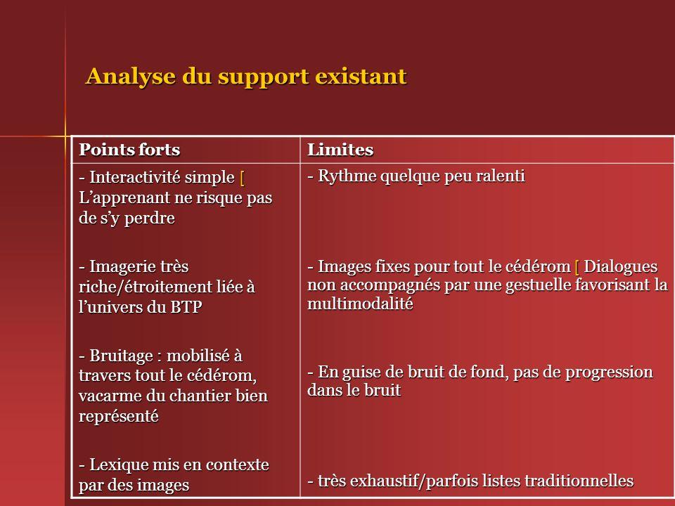 Analyse du support existant Points forts Limites - Interactivité simple [ Lapprenant ne risque pas de sy perdre - Imagerie très riche/étroitement liée