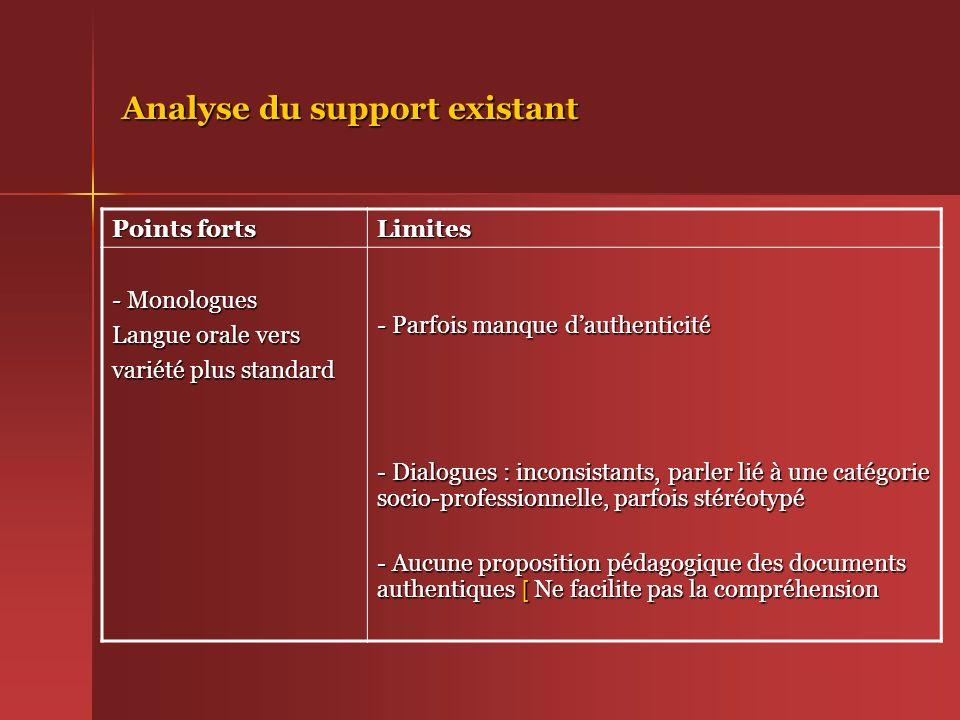 Analyse du support existant Points forts Limites - Monologues Langue orale vers variété plus standard - Parfois manque dauthenticité - Dialogues : inc