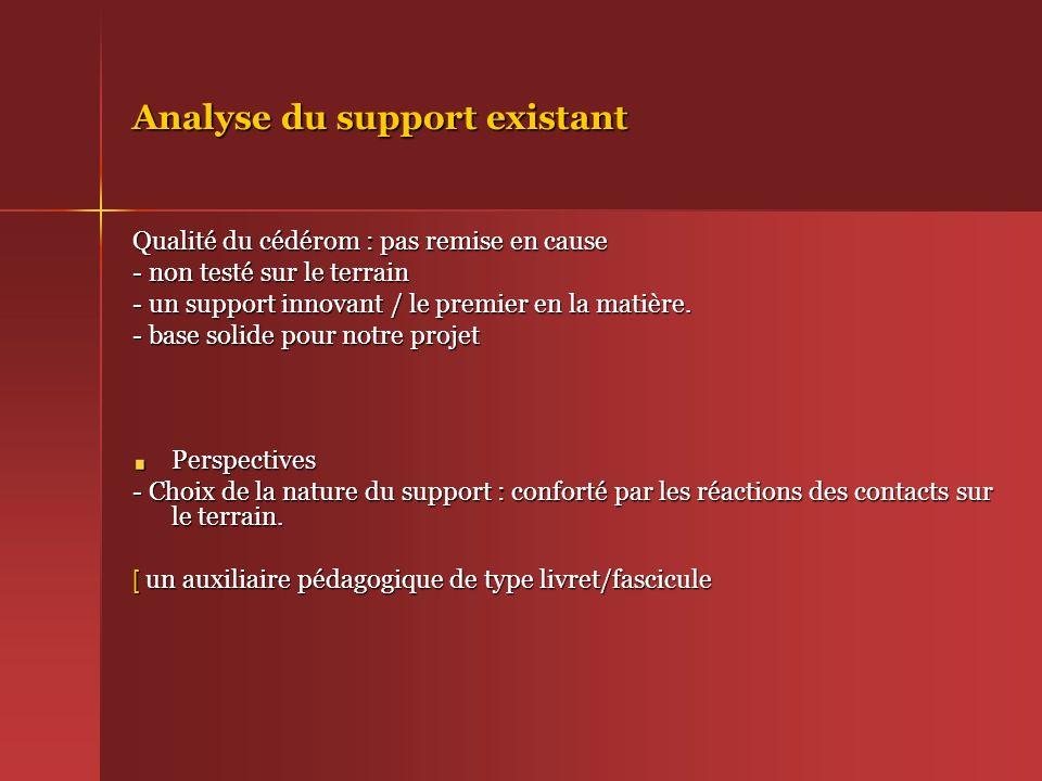 Analyse du support existant Qualité du cédérom : pas remise en cause - non testé sur le terrain - un support innovant / le premier en la matière. - ba