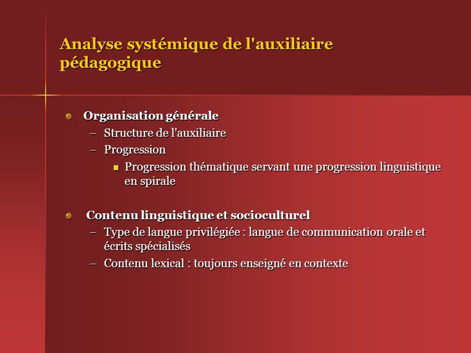 Analyse systémique de l'auxiliaire pédagogique Organisation générale –Structure de l'auxiliaire –Progression Progression thématique servant une progre
