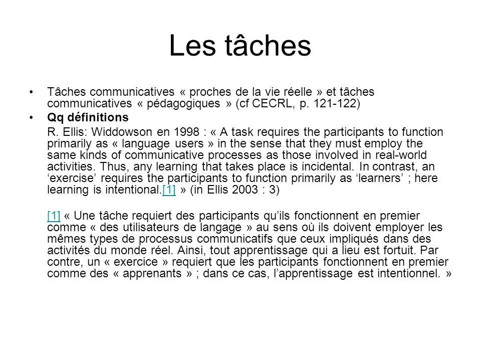 Les tâches Tâches communicatives « proches de la vie réelle » et tâches communicatives « pédagogiques » (cf CECRL, p. 121-122) Qq définitions R. Ellis