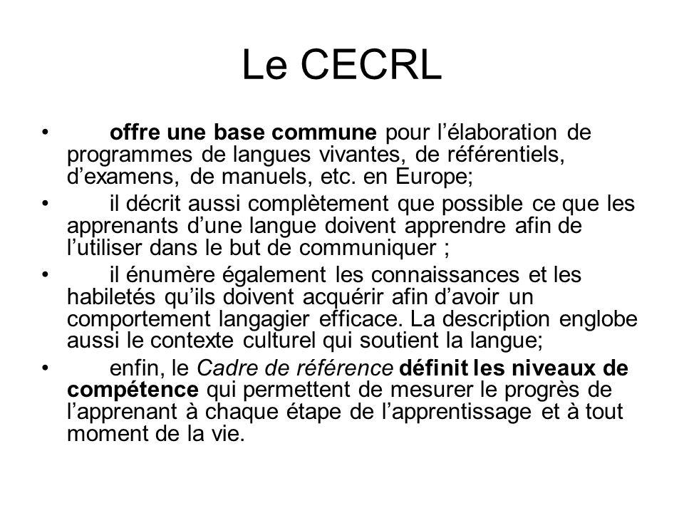 Le CECRL offre une base commune pour lélaboration de programmes de langues vivantes, de référentiels, dexamens, de manuels, etc. en Europe; il décrit