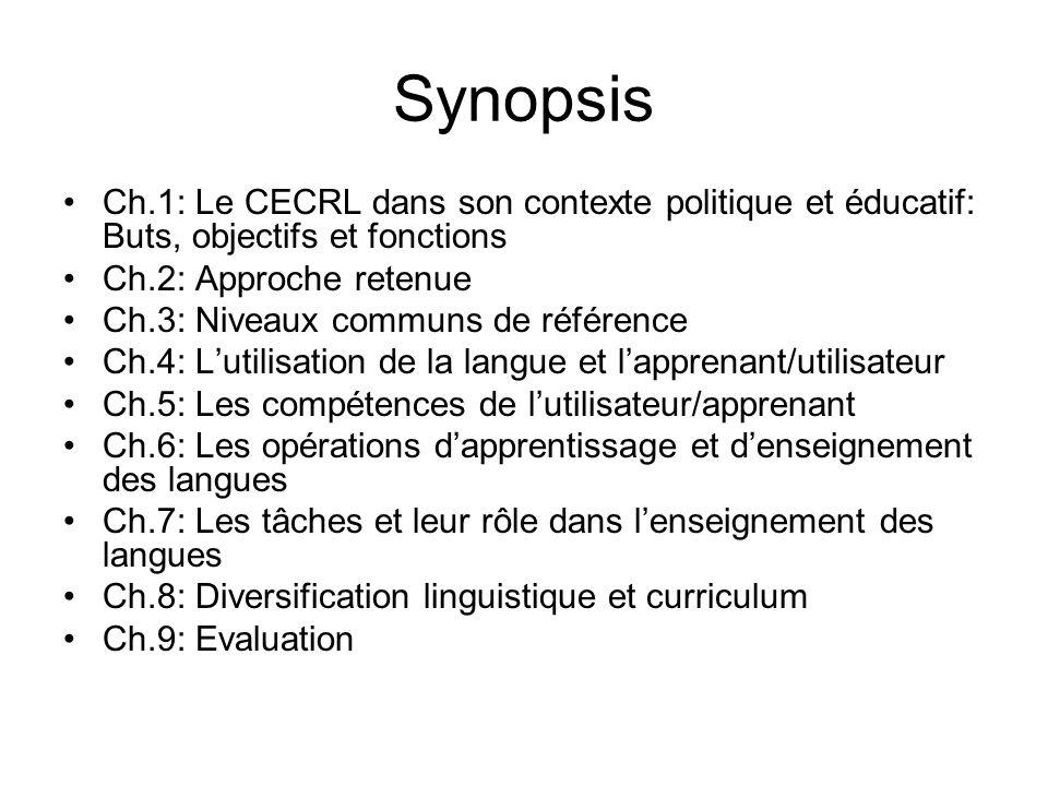 Synopsis Ch.1: Le CECRL dans son contexte politique et éducatif: Buts, objectifs et fonctions Ch.2: Approche retenue Ch.3: Niveaux communs de référenc