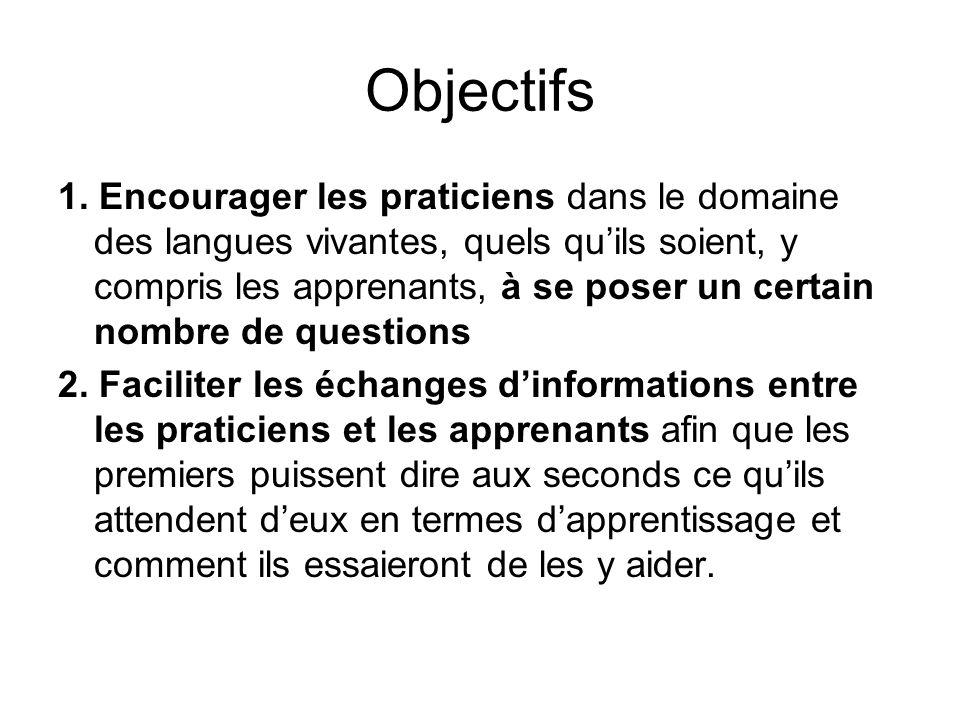 Objectifs 1. Encourager les praticiens dans le domaine des langues vivantes, quels quils soient, y compris les apprenants, à se poser un certain nombr