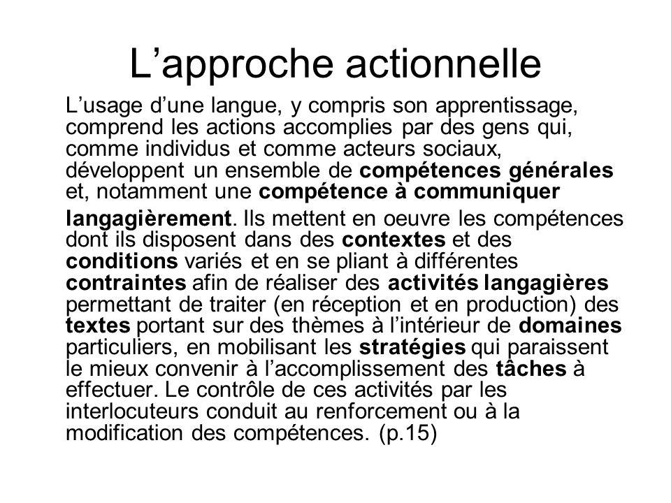 Lapproche actionnelle Lusage dune langue, y compris son apprentissage, comprend les actions accomplies par des gens qui, comme individus et comme acte