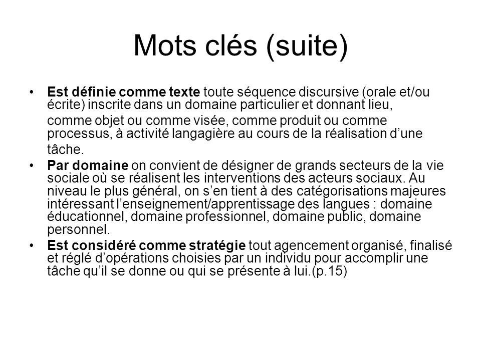 Mots clés (suite) Est définie comme texte toute séquence discursive (orale et/ou écrite) inscrite dans un domaine particulier et donnant lieu, comme o