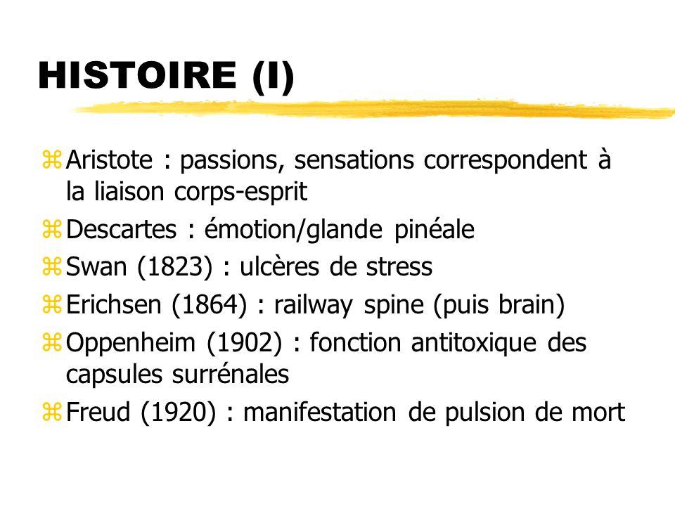 HISTOIRE (2) zSELYE H (1950) : « toute réponse de l organisme conséquente à toute demande ou sollicitation exercées sur cet organisme » réaction surrénalienne ; contre-choc associé au choc ; maladies de l adaptation ; stressors