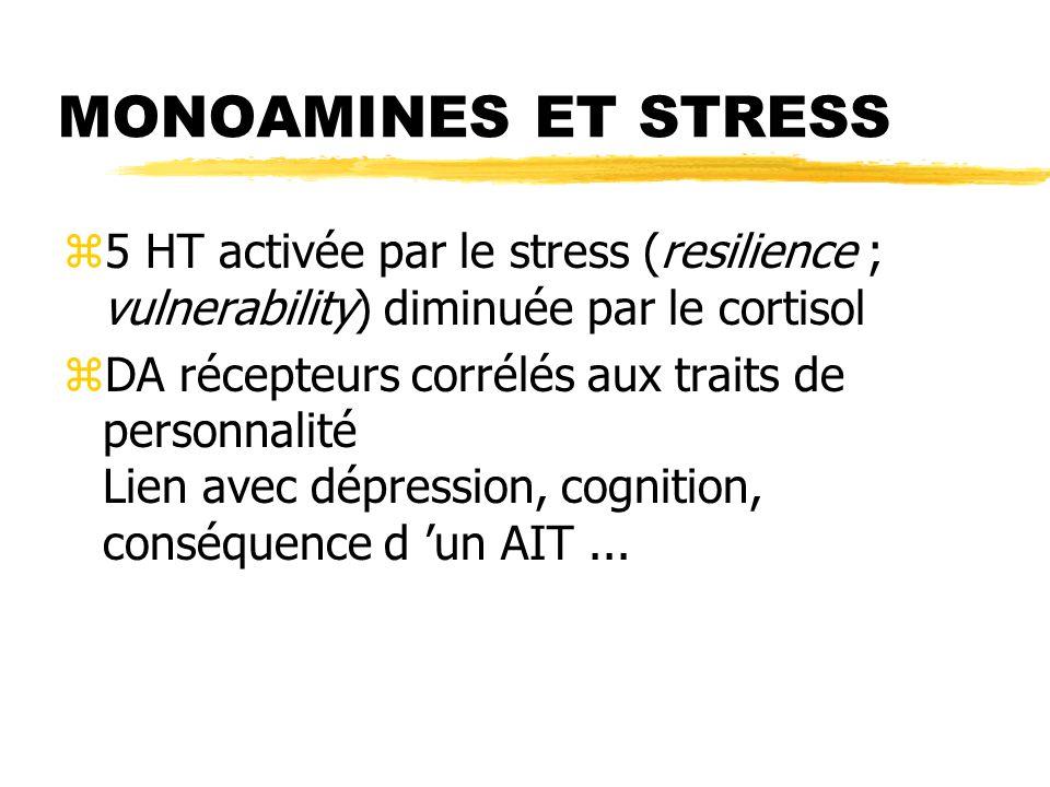 MONOAMINES ET STRESS z5 HT activée par le stress (resilience ; vulnerability) diminuée par le cortisol zDA récepteurs corrélés aux traits de personnal