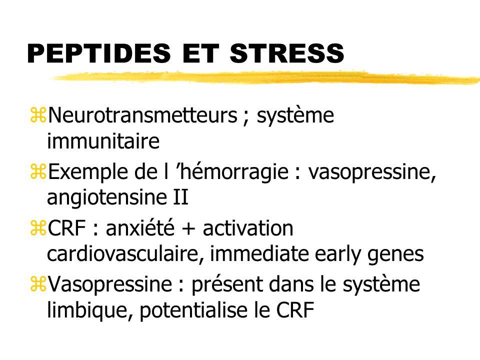 PEPTIDES ET STRESS zNeurotransmetteurs ; système immunitaire zExemple de l hémorragie : vasopressine, angiotensine II zCRF : anxiété + activation card