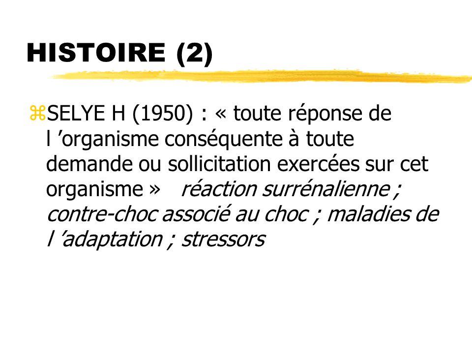 HISTOIRE (3) zCox et Mackay (1978) : yconception dynamique yprocessus d évaluation par le sujet zSyndrome de stress post-traumatique (PTSD) yDSM IIIR yTraumatogénicité