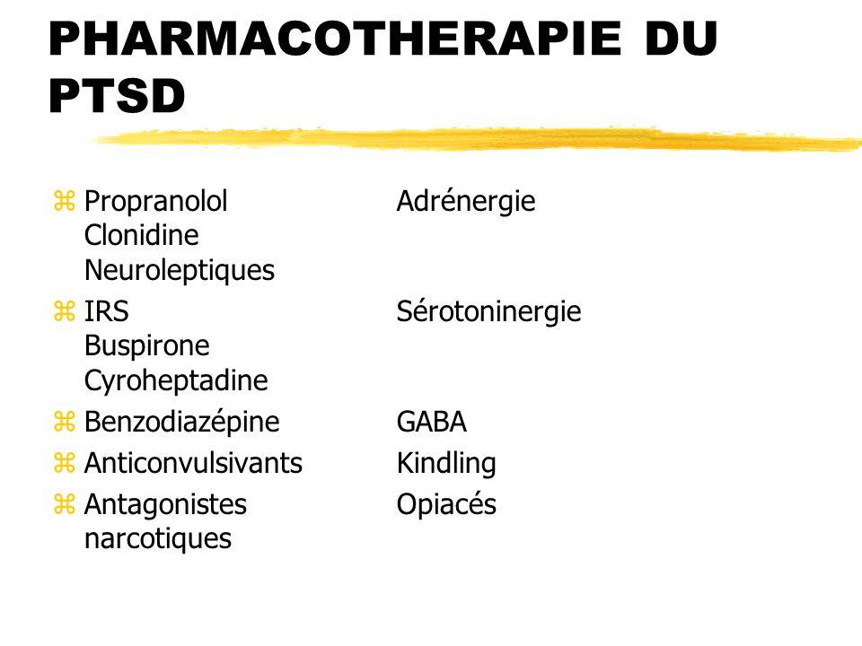 PHARMACOTHERAPIE DU PTSD zPropranololAdrénergie Clonidine Neuroleptiques zIRSSérotoninergie Buspirone Cyroheptadine zBenzodiazépineGABA zAnticonvulsiv