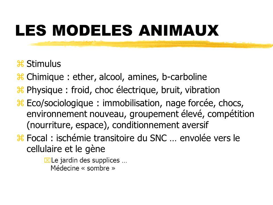 LES MODELES ANIMAUX zStimulus zChimique : ether, alcool, amines, b-carboline zPhysique : froid, choc électrique, bruit, vibration zEco/sociologique :