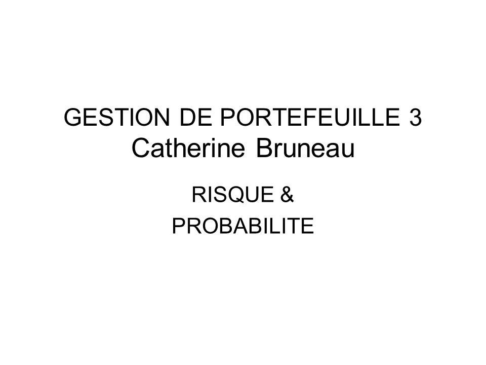 GESTION DE PORTEFEUILLE 3 Catherine Bruneau RISQUE & PROBABILITE