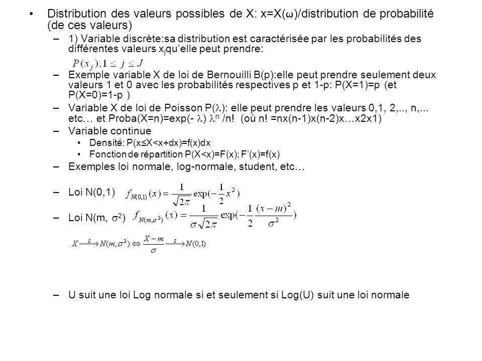 Distribution des valeurs possibles de X: x=X( )/distribution de probabilité (de ces valeurs) –1) Variable discrète:sa distribution est caractérisée pa