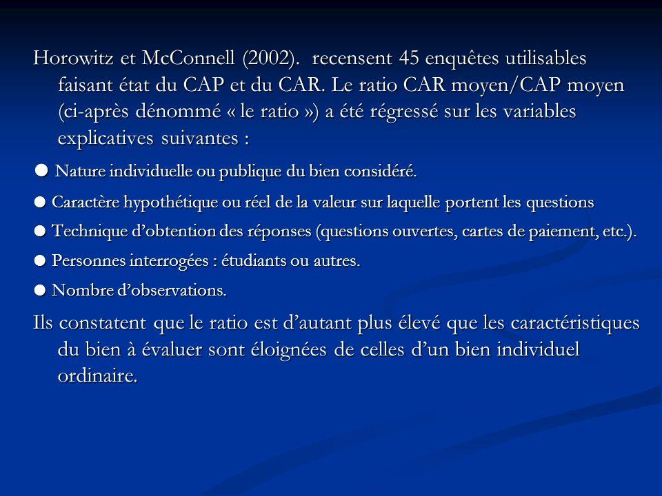 Horowitz et McConnell (2002). recensent 45 enquêtes utilisables faisant état du CAP et du CAR. Le ratio CAR moyen/CAP moyen (ci-après dénommé « le rat