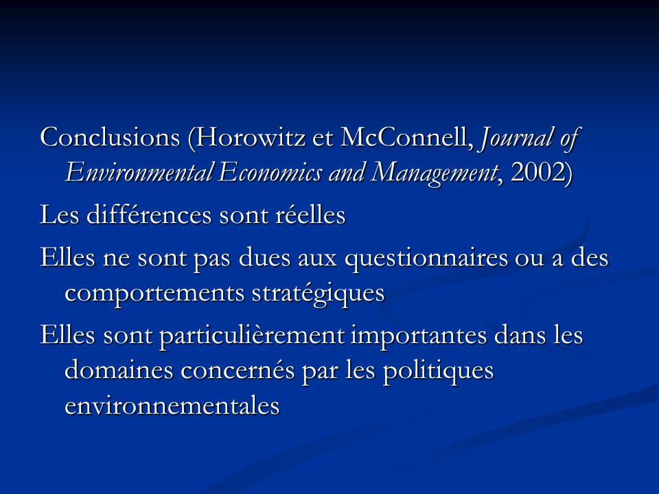 Conclusions (Horowitz et McConnell, Journal of Environmental Economics and Management, 2002) Les différences sont réelles Elles ne sont pas dues aux q