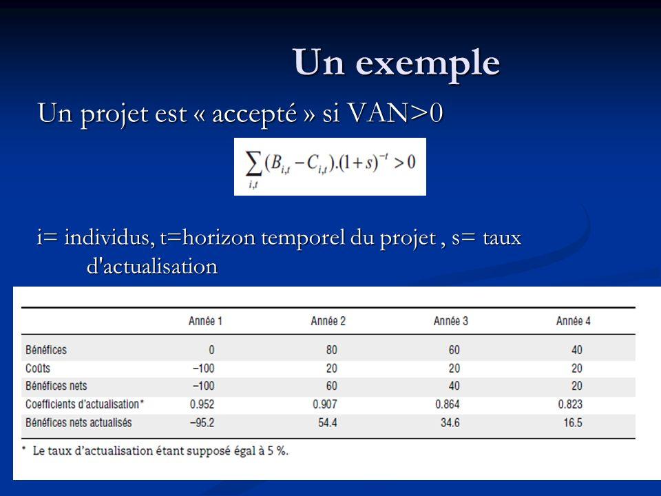 Un exemple Un projet est « accepté » si VA(CAP)-VA(CAR)>0 i= individus, t=horizon temporel du projet, s= taux d actualisation, G=Gagnants, P=Perdants CAP=consentement à payer pour un avantage CAR=consentement à recevoir pour un coût