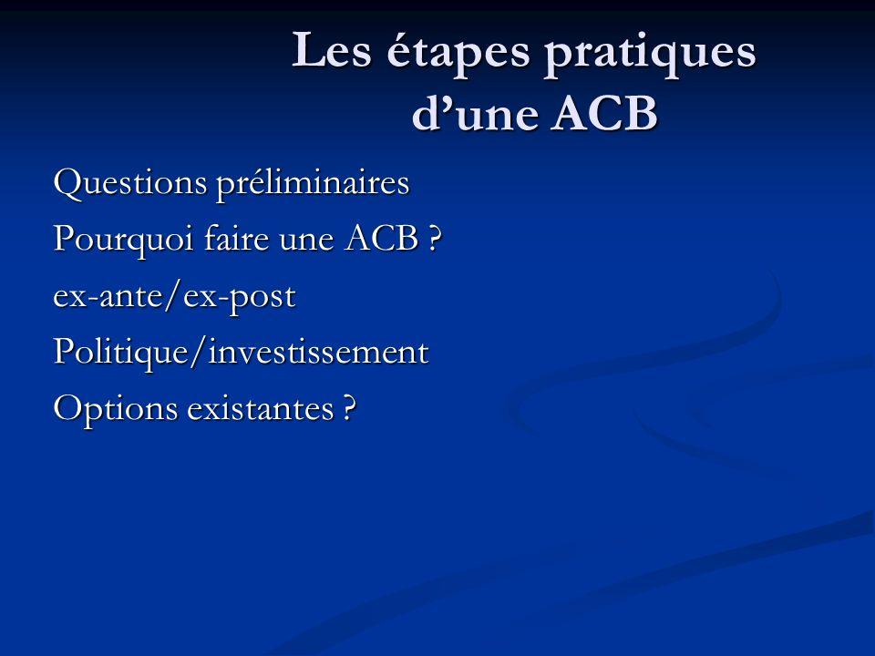Les étapes pratiques dune ACB Questions préliminaires Pourquoi faire une ACB ? ex-ante/ex-postPolitique/investissement Options existantes ?