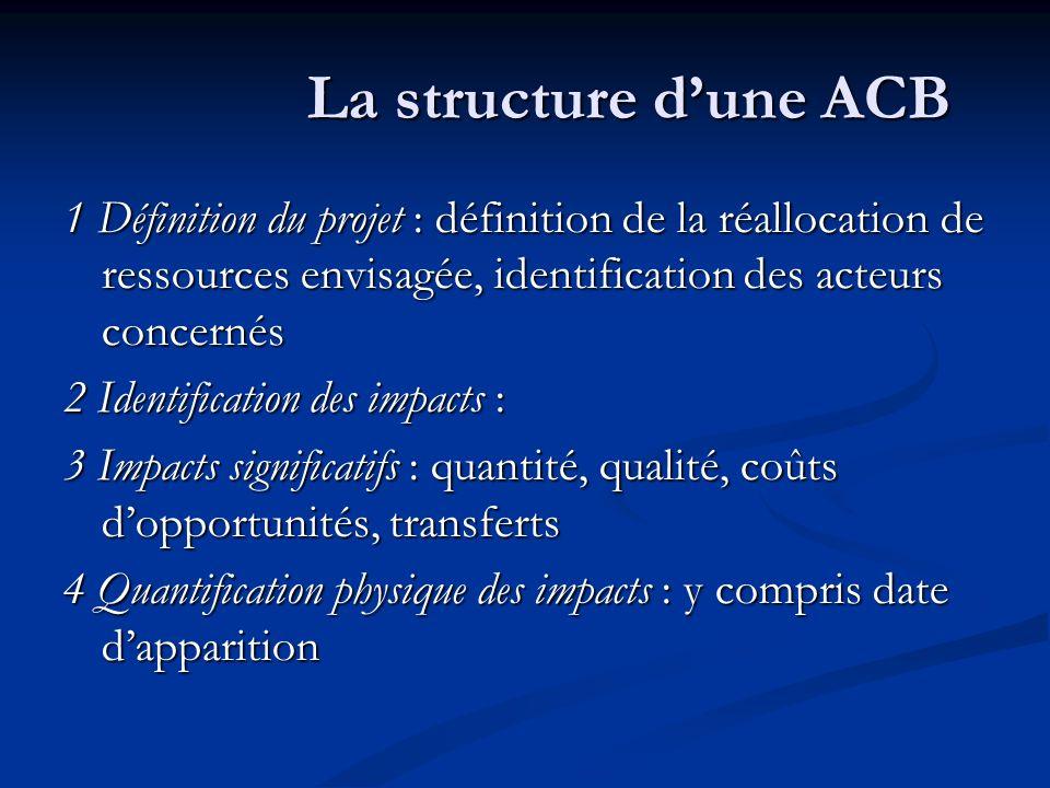 La structure dune ACB 1 Définition du projet : définition de la réallocation de ressources envisagée, identification des acteurs concernés 2 Identific