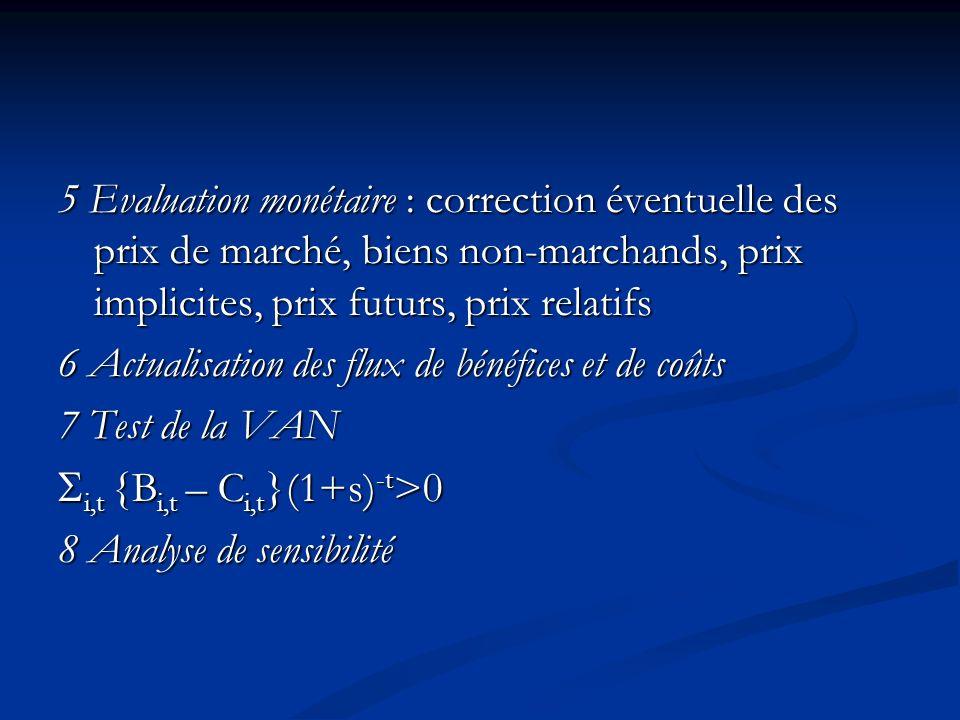 5 Evaluation monétaire : correction éventuelle des prix de marché, biens non-marchands, prix implicites, prix futurs, prix relatifs 6 Actualisation de