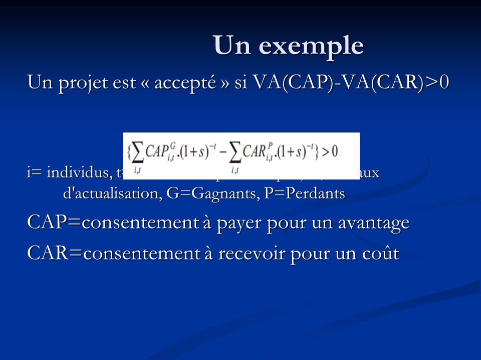 Un exemple Un projet est « accepté » si VA(CAP)-VA(CAR)>0 i= individus, t=horizon temporel du projet, s= taux d'actualisation, G=Gagnants, P=Perdants