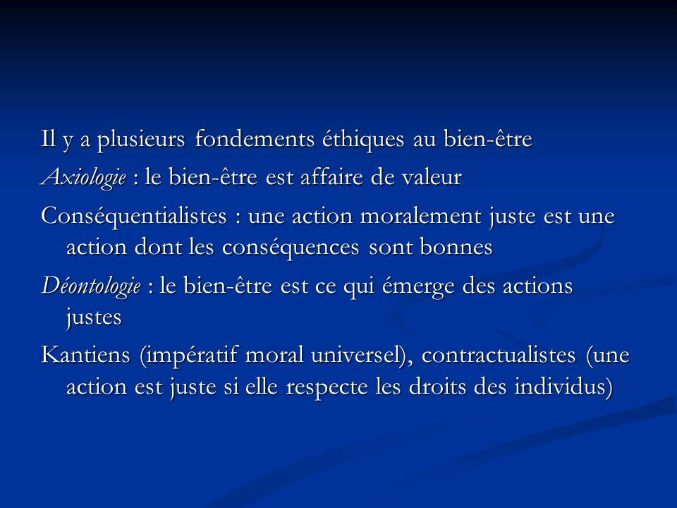Il y a plusieurs fondements éthiques au bien-être Axiologie : le bien-être est affaire de valeur Conséquentialistes : une action moralement juste est