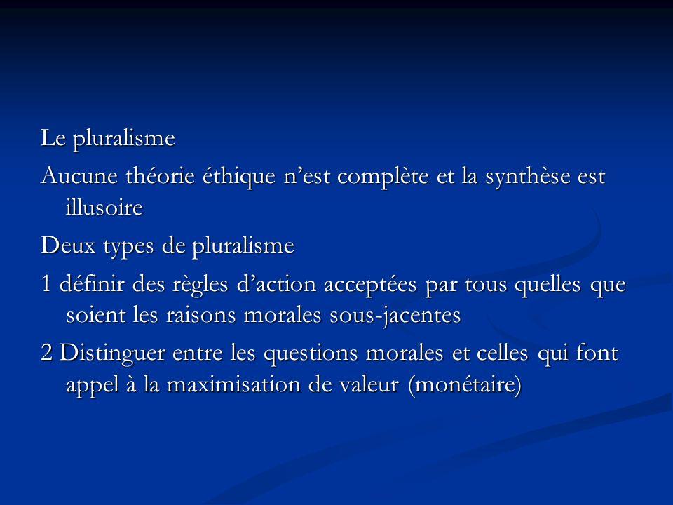 Le pluralisme Aucune théorie éthique nest complète et la synthèse est illusoire Deux types de pluralisme 1 définir des règles daction acceptées par to
