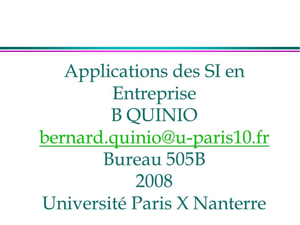 Applications des SI en Entreprise B QUINIO bernard.quinio@u-paris10.fr Bureau 505B 2008 Université Paris X Nanterre bernard.quinio@u-paris10.fr