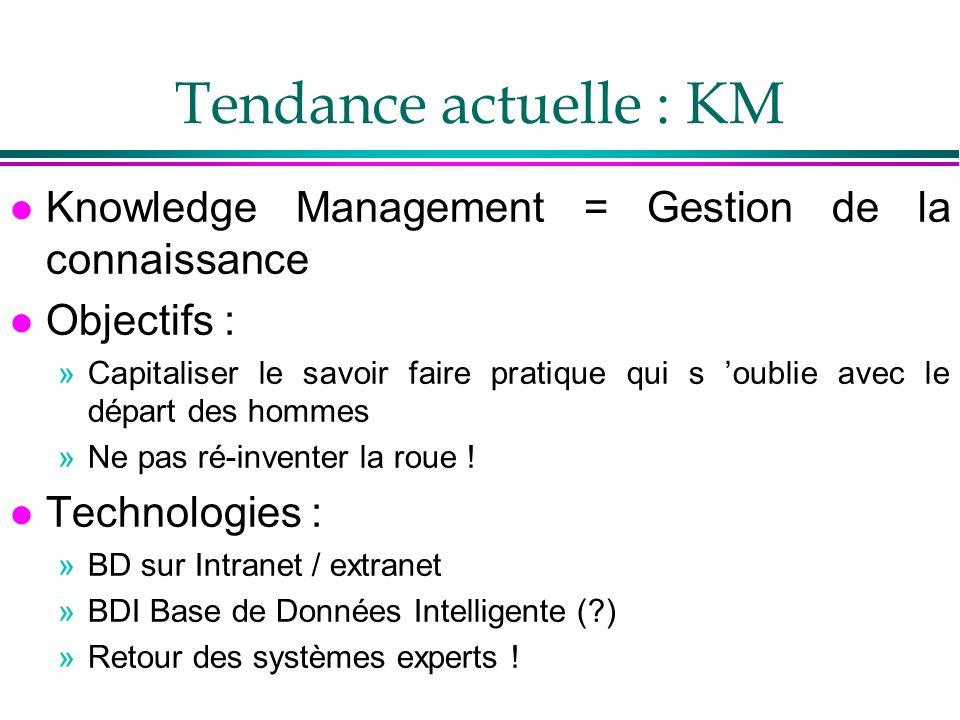 Tendance actuelle : KM l Knowledge Management = Gestion de la connaissance l Objectifs : »Capitaliser le savoir faire pratique qui s oublie avec le dé