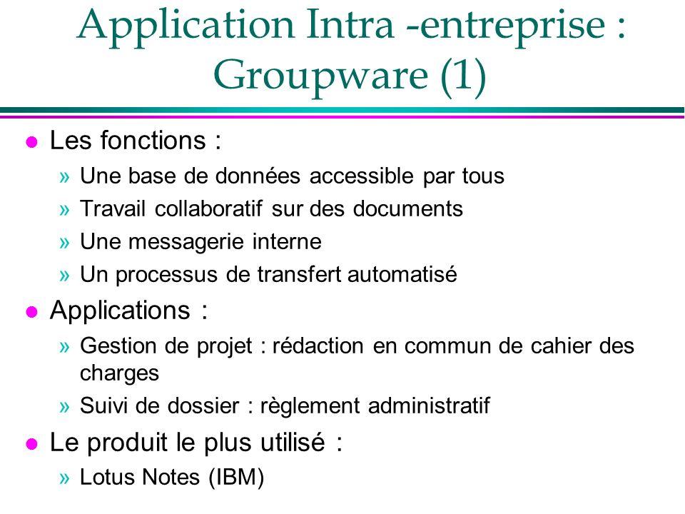 Application Intra -entreprise : Groupware (1) l Les fonctions : »Une base de données accessible par tous »Travail collaboratif sur des documents »Une