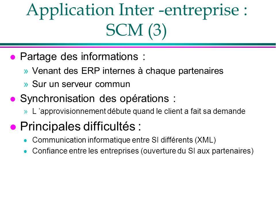 Application Inter -entreprise : SCM (3) l Partage des informations : »Venant des ERP internes à chaque partenaires »Sur un serveur commun l Synchronis