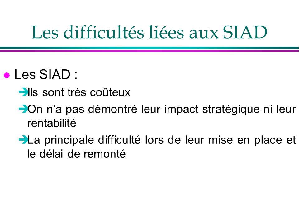 Les difficultés liées aux SIAD l Les SIAD : Ils sont très coûteux On na pas démontré leur impact stratégique ni leur rentabilité La principale difficu