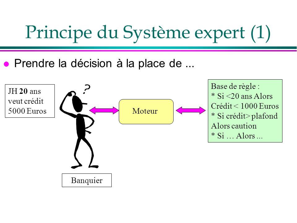 Principe du Système expert (1) l Prendre la décision à la place de... JH 20 ans veut crédit 5000 Euros Banquier Base de règle : * Si <20 ans Alors Cré