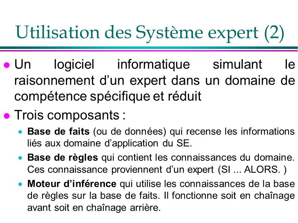 Utilisation des Système expert (2) l Un logiciel informatique simulant le raisonnement dun expert dans un domaine de compétence spécifique et réduit l