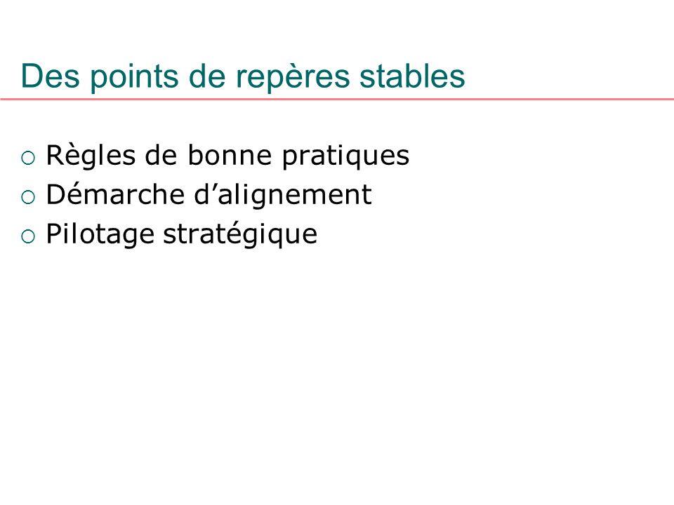 Des points de repères stables Règles de bonne pratiques Démarche dalignement Pilotage stratégique