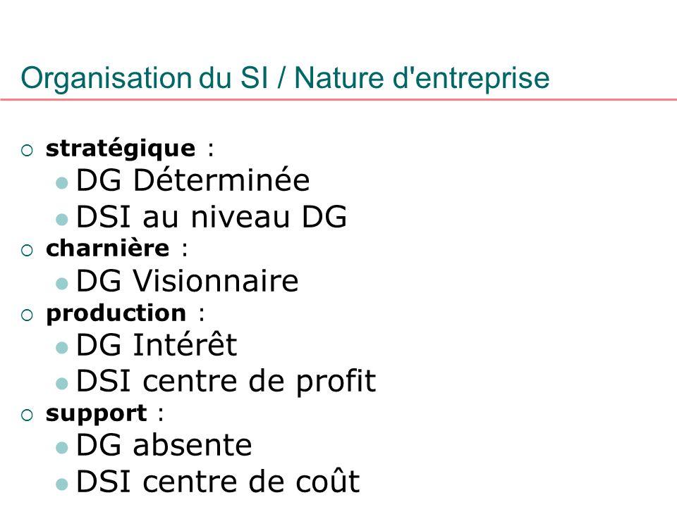 Organisation du SI / Nature d'entreprise stratégique : DG Déterminée DSI au niveau DG charnière : DG Visionnaire production : DG Intérêt DSI centre de