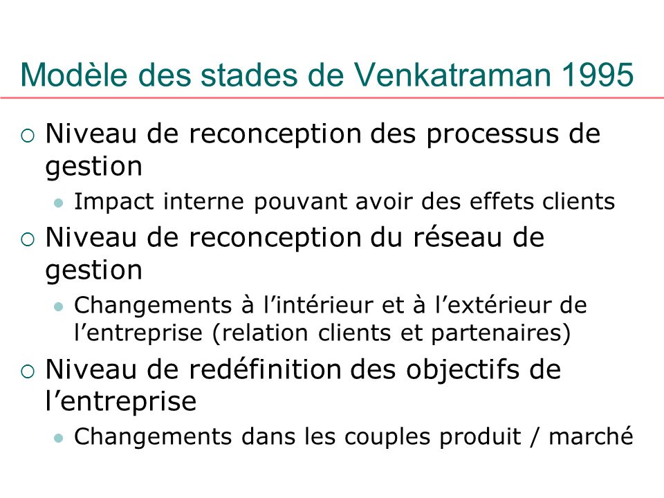 Modèle des stades de Venkatraman 1995 Niveau de reconception des processus de gestion Impact interne pouvant avoir des effets clients Niveau de reconc