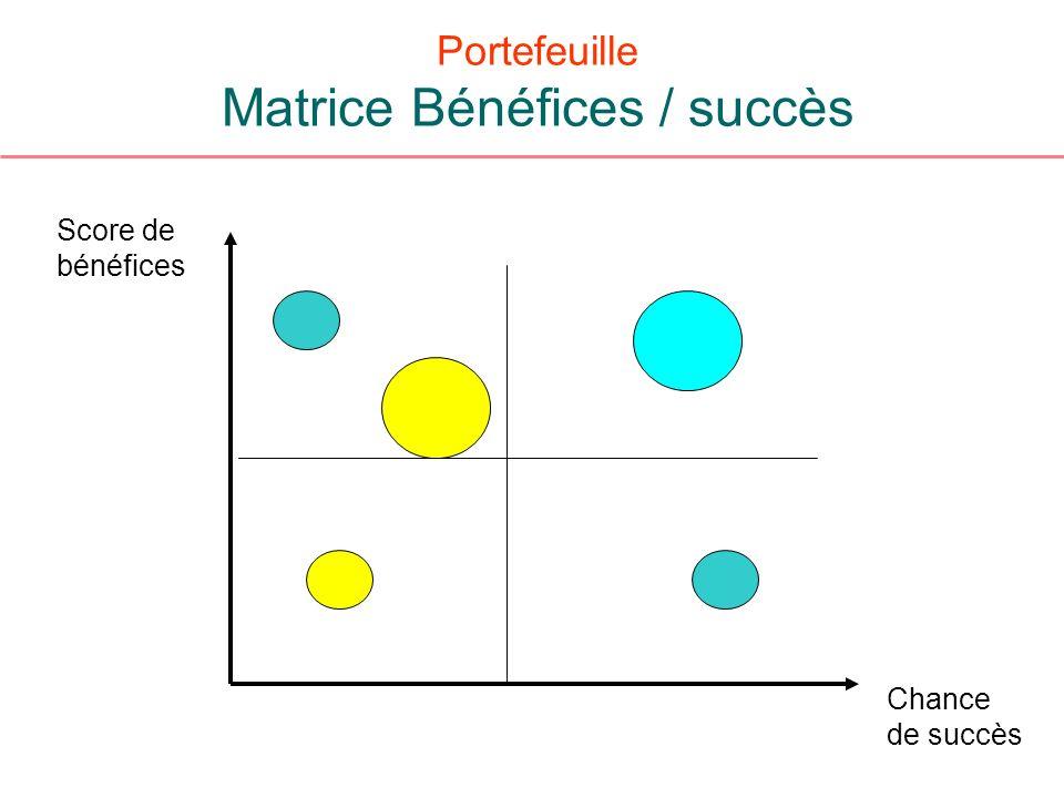 Portefeuille Matrice Bénéfices / succès Score de bénéfices Chance de succès
