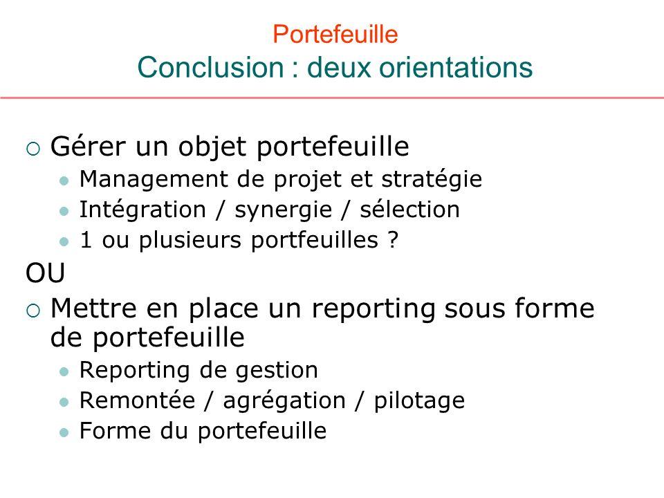 Portefeuille Conclusion : deux orientations Gérer un objet portefeuille Management de projet et stratégie Intégration / synergie / sélection 1 ou plus
