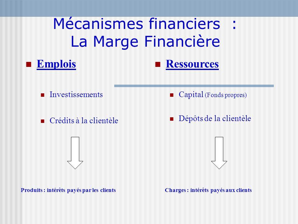 Mécanismes financiers : La Marge Financière Emplois Investissements Crédits à la clientèle Ressources Capital (Fonds propres) Dépôts de la clientèle P